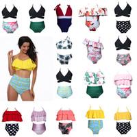 Wholesale Kids Slings - Kids Swimwear Baby Girls Floral Swimsuit Bathing Suit Two-pieces Bikini Set Swimwear Beachwear Girls High Waist Bikini Sling Girls Swimsuit
