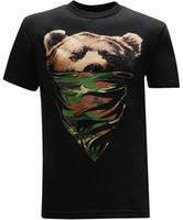 erkek şık gömlekleri toptan satış-Toptan-Kaliforniya Cumhuriyeti Camo Bandana Ayı erkek T-Shirt Kollu T Gömlek Yaz Erkekler Tee Üstleri Giyim Klasik Basit Tarzı
