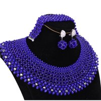Wholesale bridal jewellery for sale - Group buy Jewellery Set of Beads African Bridal Jewelry Set Schmuck Crystal Dubai Necklace Set Round Braid Pics