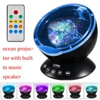 Wholesale Plastic Projector - audio speaker portable mini projector led Ocean Wave Starry Sky Aurora LED Night Light Projector Luminaria Novelty Lamp USB with retail box