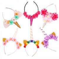 Wholesale Wholesale Fashion Headbands For Women - animal jewelry Unicorn Horns Hairband Hair Accessories For Women& Kids Costume Headdress Fashion Fabric Hair Jewelry Drop Ship 120012