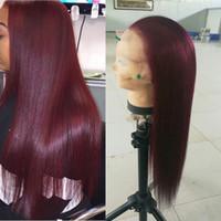 cheveux humains de 12 pouces 99j achat en gros de-99j Glueless Full Lace Perruques De Cheveux Humains Pour Les Femmes Noires Pré-Cueillies Bourgogne Droite Indien Vierge Cheveux Dentelle Avant Perruques 8-26 pouces