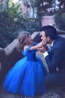 ingrosso abiti da sposa tutu per i bambini-2019 New Royal Blue Princess Wedding Flower Girl Dresses Puffy Tutu Sparkly Cristalli Bambino Little Girls Pageant Comunione Dress