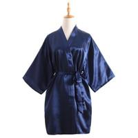 vintage chinesische robe großhandel-Vintage Damen Satin Kurzes Nachthemd Nachtwäsche Chinesische Frauen Robe Kleid Kleid Vintage Kimono Yukata Lounge Nachtwäsche Pyjamas