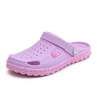 ingrosso le signore inzuppano le scarpe-Scarpette Jelly Clogs da donna di colore Scarpa Scarponcino da colorare Garden Clog Scivoli Ladies Girls Sandali da spiaggia Vacanza Slipper Student