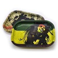 Wholesale Size Small Machine - Mini Rolling Tray metal 6 pattern 18cm*14cm*1.5cm small size Bob Marley for rolling papers grinder smoking pipes Machine Tools