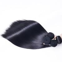 menschliches flechtenhaar mittel braun großhandel-8A Brasilianisches Reines Haar Bundles Gerade Natürliche Schwarze Unverarbeitete Remy Menschenhaar-webart Peruanisch Indische Malaysische Haarverlängerungen