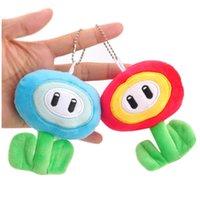 mavi buz kolye toptan satış-10 CM Peluş Bebek Oyuncak Süper Mario Bros Mavi Buz Kırmızı Alev Çiçek Dolması Oyuncaklar Çocuklar Kolye Moda Anahtarlık 5 2dm hh