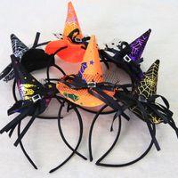 şapka saç süslemeleri toptan satış-Cadılar bayramı Cadı Şapka Kafa Dantel Ilmek Doruğa kap Şirket Okul Anaokulu Cadılar Bayramı Partisi Gösterisi Prop Süslemeleri Çocuklar Saç Takı