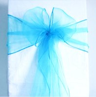 Wholesale teal bows online - High Quality Teal Blue Organza Crystal Chair Sashes Sample Fabric Roll wedding Sash Bow Gift Party SASH