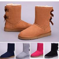 botas altas negras para niñas al por mayor-2017 de Alta Calidad Nuevo WGG Australia de Las Mujeres Clásico botas de rodillas Botines Negro Gris castaño azul marino Mujer niña botas EE. UU. 5--10