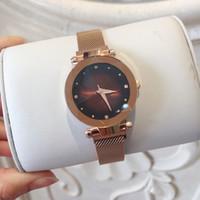 relógios magnéticos venda por atacado-Agradável novo Roxo Moda Feminina Assista Luxo Aço Inoxidável Famoso Design Relojes De Marca Mujer Ímã fivela de Quartzo Relógio Lady Dress Watch