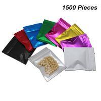tuercas de seguridad al por mayor-9 colores 7.5x10 cm 1500 piezas Reclavable Mylar Foil Olor a prueba de alimentos bolsa de almacenamiento lágrima muescas papel de aluminio Zip Lock bolsas de embalaje para la tuerca