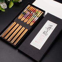 wholesale japanese gifts NZ - 10 Pairs(2 boxes) Japanese Natural Bamboo Chopsticks Creative Printing Chopsticks Health Tableware With Gift Box