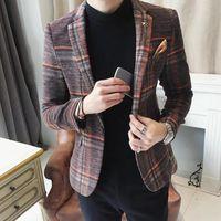 ingrosso coreani casual blazers per gli uomini-Blazer scozzese da uomo in cotone maschile slim fit con scollo a barchetta maschile, giacca in blazer maschile