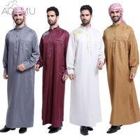 Wholesale casual dress clothes men - Wholesale- AOMU Men Saudi Thobe Islamic Muslim Clothing Arab Male People Dress Thobe Arabic Abayas Dress Indian Mens Kaftan Robe