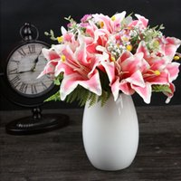 Wholesale wedding bouquets pink lily - Artificial Flowers Head 50cm Lily Bouquet Office Wedding Party Centerpieces Home Party Decorative Fake Silk Flowers