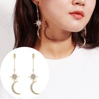 Wholesale wholesale pure gold jewelry - S925 pure gold Long section tassel stars and Moon with Diamonds Drop Earrings personality jewelry zircon crystal earrings female