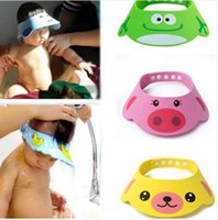 bebek duş kapağı pembe toptan satış-Ayarlanabilir Bebek Duş Şapka Yürüyor Çocuk Şampuanı Banyo Duş Cap Yıkama Saç Shield Bebek Bakımı için Doğrudan Visor Caps