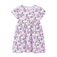 Wholesale Casual Girls Purple Dress - Kids Unicorn Dress with Appliques Girls Cotton Short Sleeves Casual Cartoon 2018 Summer Striped Printed Dresses