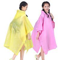 pelerin pano hooded toptan satış-Yeniden Çocuk Yağmurluk Karikatür Şeffaf Su Geçirmez Yağmur Geçirmez Yağmurluk Çocuklar Kapşonlu Cloak Tipi Panço Öğrenci Rainsuit