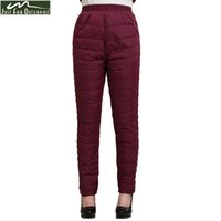 Wholesale women winter down pants - 2017 Winter Women Duck Down Pants Trousers High Waist Outer Wear Female Casual Straight Warm Thick Pants Cold-proof Trousers