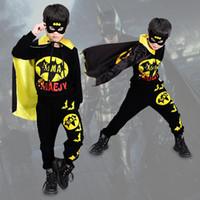 ropa de batman cosplay al por mayor-Conjuntos de ropa de Halloween para niños niños Batman Ocio Ropa deportiva Conjuntos de dibujos animados Cosplay Cloak Mask Home Clothing Free DHL WX9-960