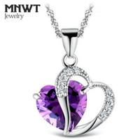прекрасные девочки оптовых-MNWT женщины / девушка ожерелье в форме сердца Циркон Кристалл ожерелье прекрасный модный романтический небольшой кулон ожерелье подарок ювелирные изделия
