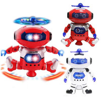 Wholesale electronic robot toys for wholesale - 2018 Intelligent 360 Rotating Space Dancing Robot Electronic Infrared Musical Walking Lighten Multi-function Smart Toys for Kid Robot toys