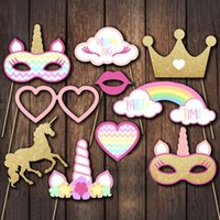 Wholesale baby mask adult halloween - 6 Styles Unicorn Flamingo Baby Birthday Photo Booth Props Paper Mask Party Decoration Masquerade Masks Kids Toys Christmas Event Decor