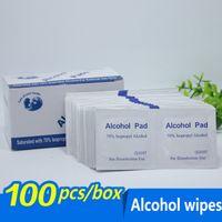 limpieza de teléfonos móviles al por mayor-100 unids / lote Alcohol Prep Swap Pad toallita húmeda para cuidado de limpieza de piel antiséptico teléfono móvil limpio