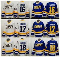 chiefs hockey 2018 - Charlestown Chiefs Jerseys Slap Shot Movie Hockey 16 Jack Hanson 17 Steve Hanson 18 Jeff Hanson Jersey Stitched Tean Blue Alternate White