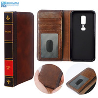 Wholesale vintage bibles - Flip Leather cell Phone Case for OnePlus 6 Cover Wallet Retro Bible Vintage Book Business Pouch