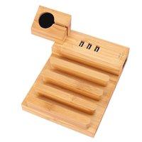 ingrosso stazione di ricarica di bambù-Apple Watch Stand in legno di bambù, stazione di ricarica USB a 3 porte Dispositivi multipli iWatch Docking Station Multi storage per iPhone X / 8/7 Plus
