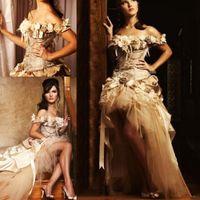 victorian düğün çiçekleri toptan satış-Altın Aplikler A Hattı Hi-Lo Gelinlik 2019 Prenses Dantel El Yapımı Çiçek Victoria Gelin Elbiseler Için 16 Yıl Quinceanera Abiye