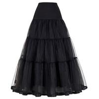 Wholesale Tulle Crinoline Skirt - Women Black Red Retro Skirt For Wedding Fashion Vintage Long Skirts Crinoline Underskirt Ball Gown Empire Voile Tulle Petticoat