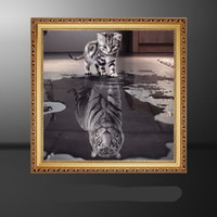 ingrosso resina floreale-Dipinti a mano piena di diamanti Frameless Classic Wall Art in bianco e nero Cat Tiger Resin Square Drill Immagini 6 5ss Ww