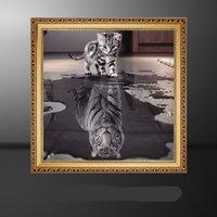 bild karikatur katze großhandel-DIY Voller Diamant Gemälde Frameless Klassische Wand Kunst Schwarz Und Weiß Katze Tiger Harz Quadrat Bohrer Bilder 6 5ss Ww