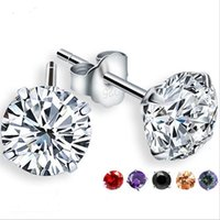Wholesale zircon cubic sterling cz earrings for sale - 100 Sterling Silver Jewelry Round Zircon CZ Stud Earrings White Clear Zircon Ear Studs for Women Men Party Gifts JL