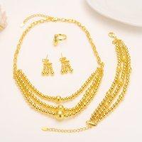 ingrosso collana di goccia della sfera dell'oro-Parure di gioielli di perle di colore oro Collana di catene pendente tondo Orecchini di goccia di palle per le donne Arab / Africa PARTY etiopici Gioielli girlscharms