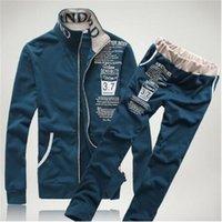 ropa deportiva casual coreano al por mayor-Tang cool2018 moda chándal coreano ropa deportiva de manga larga slim fit casual cardigan outwear traje deportivo M-XXL