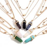 multi edelstein anhänger großhandel-Arbeiten Sie die Mehrschichtkettenmänner Frauen hergestellte Edelstein-Naturstein-sechseckige Prisma-Stapel-hängende Halsketten-Frauen um, die D782S versenden