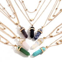 Wholesale womens necklace free shipping - Fashion Multi-layer Chain Mens Womens Created Gemstone Natural Stone Hexagonal Prism Pile Pendant Necklace Women Free Shipping D782S