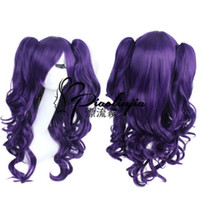 Wholesale purple hair lolita cosplay for sale - Dark Purple LOLITA Long Wavy Clip Ponytail Cosplay Party Wig Hair