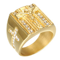 Wholesale mens cross rings - Stylish Mens Stainless Steel 18K Gold Plated Cross Ring Christian Jesus Ring, US size