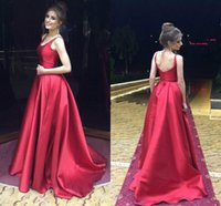 Wholesale beautiful art deco for sale - Beautiful Scoop Neck Red Satin Prom Dresses Sleeveless Ball A Line Cheap Formal Long Party Evening Dresses Gowns Robe De Soiree