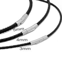 ingrosso cordoncino in pelle intrecciata nera-MOGE 3/4 / 5mm Mens Womens nero intrecciato cavo di cuoio genuino in acciaio inox sicuro catenaccio collana catena di gioielli all'ingrosso