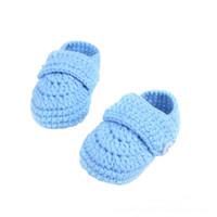 Wholesale baby crochet shoes sneakers - Dropshipping Crib Crochet Casual Handmade Knit Sock Sneakers First Walker baby shoes sapatos infantil menina menino newborn shoe