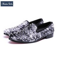 Wholesale bella shoes - Christia Bella 2018 Fashion Rivets Men Studded Loafers Punk Style Party Banquet Men Dress Shoes Slip on Casual Male Flats Shoes