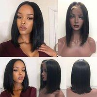 malezya saç perukları işlenmemiş toptan satış-Brezilyalı Bakire Saç Düz Dantel Ön Peruk Işlenmemiş İnsan Saç Dantel Peruk Siyah Kadın Için Malezya Hint Ücretsiz Nakliye Saç Peruk